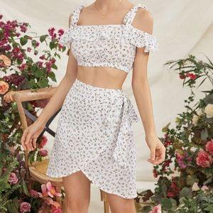 2 pcs set floral print skirt